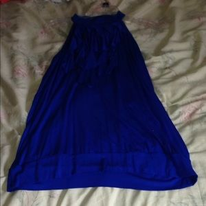 A blue top with ruffle strips